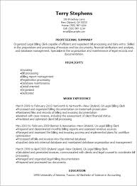 Resume Templates: Legal Billing Clerk Resume