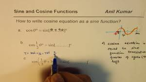 how to write cosine equation as sine function