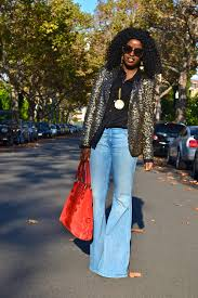 articles silver sequin tshirt bell bottom jeans
