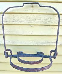 very rare 19th c wrought iron hanging fireplace hearth pot holder cooking