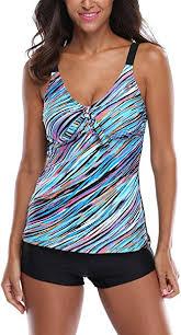<b>ATTRACO Women</b> Padded <b>Tankini</b> with Shorts 2 Piece <b>Swimwear</b> ...