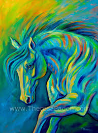 large horse art in bright colors by theresa paden