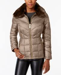 faux fur collar down puffer coat created for macy s kenneth cole thistle 4755981