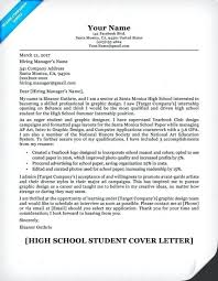 Resume Cover Letter Example High School Student Cover Letter Resume