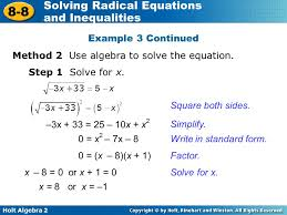 example 3 continued method 2 use algebra to solve the equation step 1 solve for