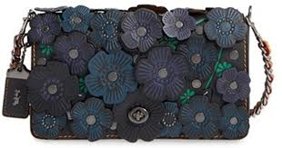 clearance lyst coach 1941 y flower applique leather saddle bag in black d02f2 d822d