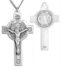 large men s sterling silver saint benedict crucifix necklace with chain options 24 2 4mm