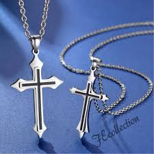 couple cross necklaces name engrave men s fashion accessories others on carou