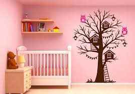 nursery owl wall decals tree house wall decal sticker vinyl art owls  birdhouse tree house owl