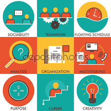management flat line icons set modern vector pictogram personal qualities icons requirements for employment business flat icons job icons vector by michaelrayback
