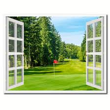 golf office decor. Vancouver Canada Golf Course View Picture French Window Framed Canvas Print Home Decor Wall Art Collection Office