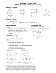 Formula Chart Algebra 2 18 Algebra I Formula Sheet 2009 Algebra I Sheet 2009 Formula