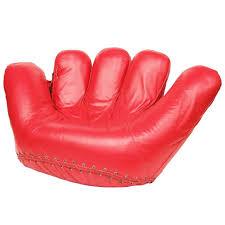 1970s rare red leather poltronova joe baseball glove chair for