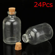 24pcs 50ml transpa clear empty glass bottles storage vials with cork stopper