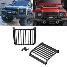2pc front light guards grille lampshade for traas trx 4 trx land rover defender 1 10 rc car parts