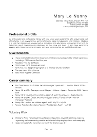 Nanny Resume Samples Berathen Com