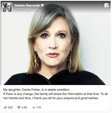 carrie fisher.  Fisher Carrie Fisher Heart Attack Facebook Update On C