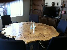 custom made round live edge maple burl table
