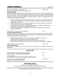 Cover Letter Resume Template For Restaurant Server Restaurant