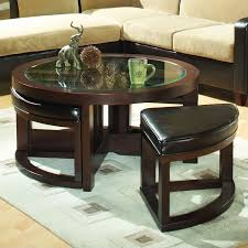 t home redell round glass top cocktail table with 4 ottomans in dark redwood 3219pu