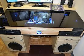 desk with built in pc inside pc build plans 13