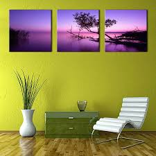 2018 3 panels landscape picture purple wall art painting purple lake tree picture prints on canvas with wooden framed for home decoration from