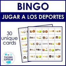 Jugar Verb Chart Spanish Sports Bingo Jugar A Los Deportes With Emoji