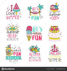 夏が好きかわいいラベル セット夏の時間手の描かれたカラフルな