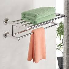 Wall Mounted Chrome Towel Holder Shelf Bathroom Storage Rack Rail