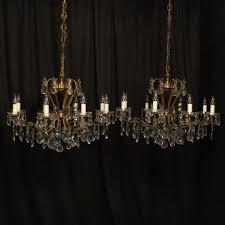italian pair of 8 light antique chandeliers