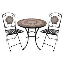 Chic Bistro Settings Outdoor Furniture Marquee 3 Piece Mosaic Tile Three Piece Outdoor Furniture