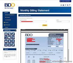 bdo credit card billing statement