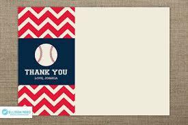 Baseball Thank You Note Baseball Birthday Baseball Printable