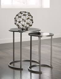 Great Round Silver Chrome 2 Piece Nesting Table Set Glass Nesting Table  Laminated Wood Ing Wall
