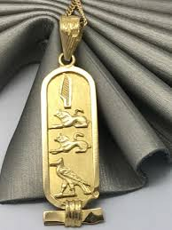 egyptian pendant cartouche with hieroglyphics handmade arabic 375 9ct gold