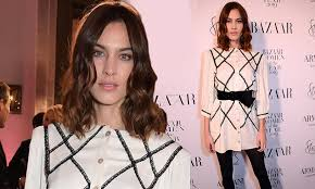 Alexa Chung looks chic in an <b>embroidered</b> shirt dress at Harper's ...