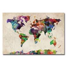 canvas watercolor world map