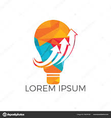 start logo design light bulb arrow logo design concept start