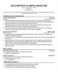 Machinist Apprentice Sample Resume Acepeople Co