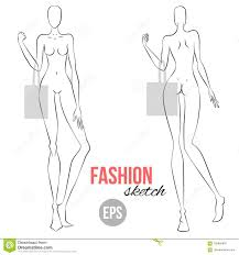 Body Template For Designing Clothes Vector Outline Girl Model Template For Fashion Sketching
