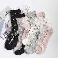 5 <b>Pairs</b>/<b>Lot</b> Spring <b>Women</b> Plant Flowers Sweet Crystal Cotton Anti ...