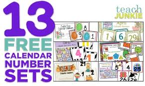 Calendar Numbers For Pocket Chart 13 Printable Calendar Numbers Free Download Sets Teach