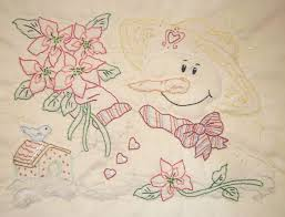 Hand Embroidery patterns to use to make your own table runners ... & This one is so cute with her bouquet of poinsettias. You can combine this  pattern with the Snow House pattern for a larger quilt. Adamdwight.com