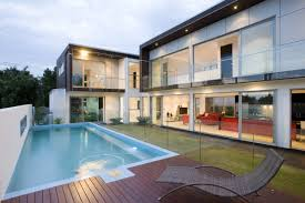 ... Cool Pool Houses Design : Excellent Home Exterior Design With  Rectangular Swimiing Pool Combine With Dark ...