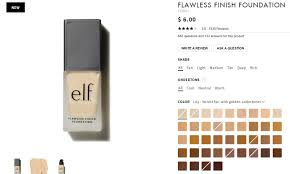 58 Ageless Elf Flawless Finish Foundation Color Chart