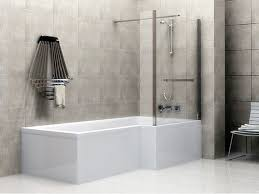 Interior. white glossy Floor Tile connected by large glass shower ...