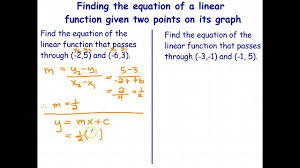 equation of a linear function given two points