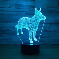 Led Dog Box Lights Abstract Dog 3d Optical Illusion Lamp 3d Optical Illusions