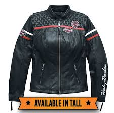 harley davidson miss enthusiast triple vent system leather jacket quilted stitching