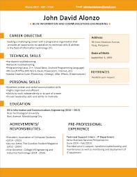 Resume Templates Sample Format For Fresh Graduates Single Page Rare